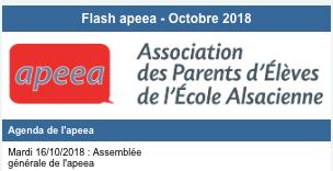 Flash apeea – Octobre 2018
