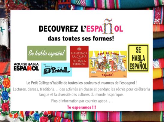 Fête hispanique : Invitation à un café jeudi 08/11/2018 à 8h25 (Petit Collège)
