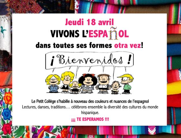 Journée Hispanophone à l'école : Jeudi 18/04/2019 (pour les élèves)