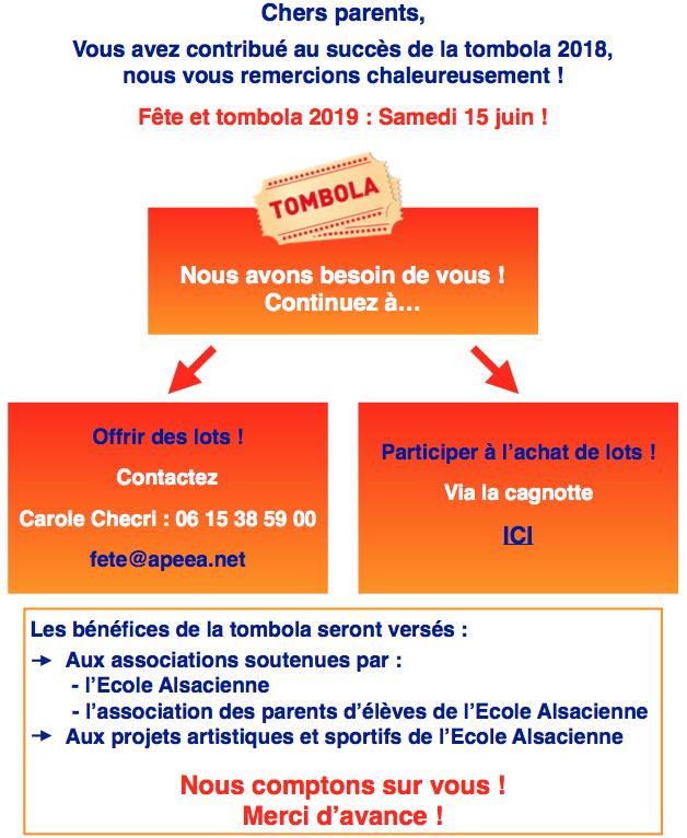 Fête de l'école : samedi 15/06/2019, 15h-18h – Tombola : appel aux dons