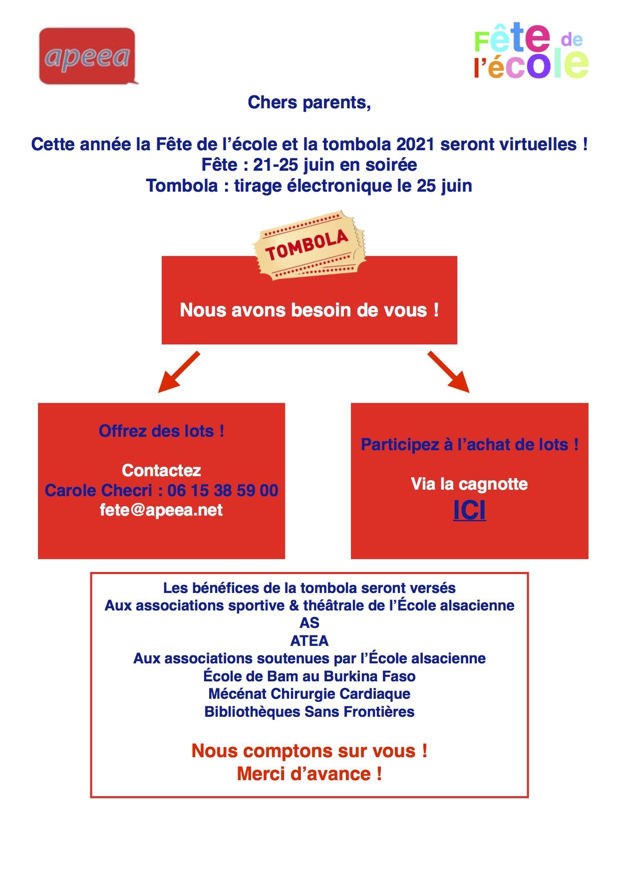 Fête de l'École virtuelle et Tombola : lundi 21.06.2021 – vendredi 25.06.2021